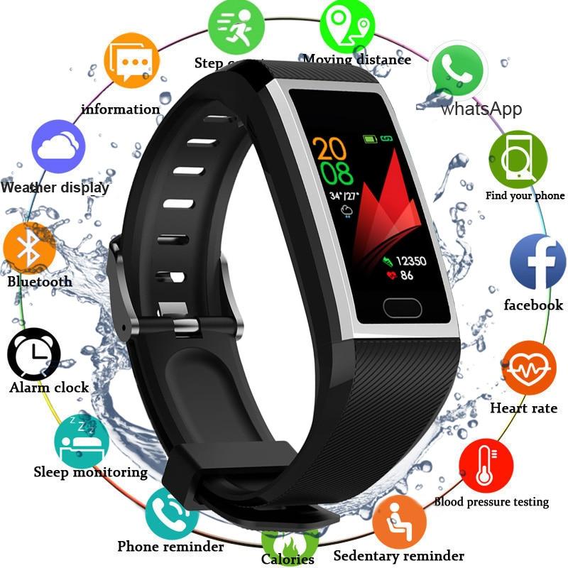 Смарт-браслет для фитнеса, водонепроницаемые фитнес-трекер, часы с монитором кровяного давления и погоды, Смарт-часы для мужчин и женщин