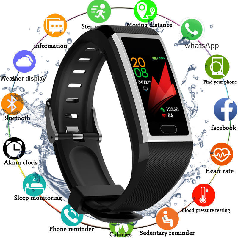 Smart Wristband Fitness Bracelet Waterproof Fitness Tracker Watch Blood Pressure Weather Display Smart Bracelet Watch Women Men image