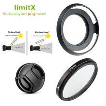 Filtro UV + de Metal Lens Hood + Lens Cap para Leica Panasonic D LUX Typ109 DMC LX100 LX100 Mark II Câmera