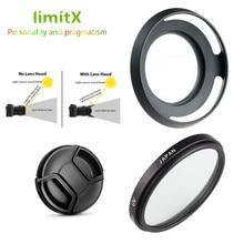 UV Filter + Metalen Zonnekap + Lens Cap voor Leica D LUX Typ109 Panasonic DMC LX100 LX100 Mark II Camera