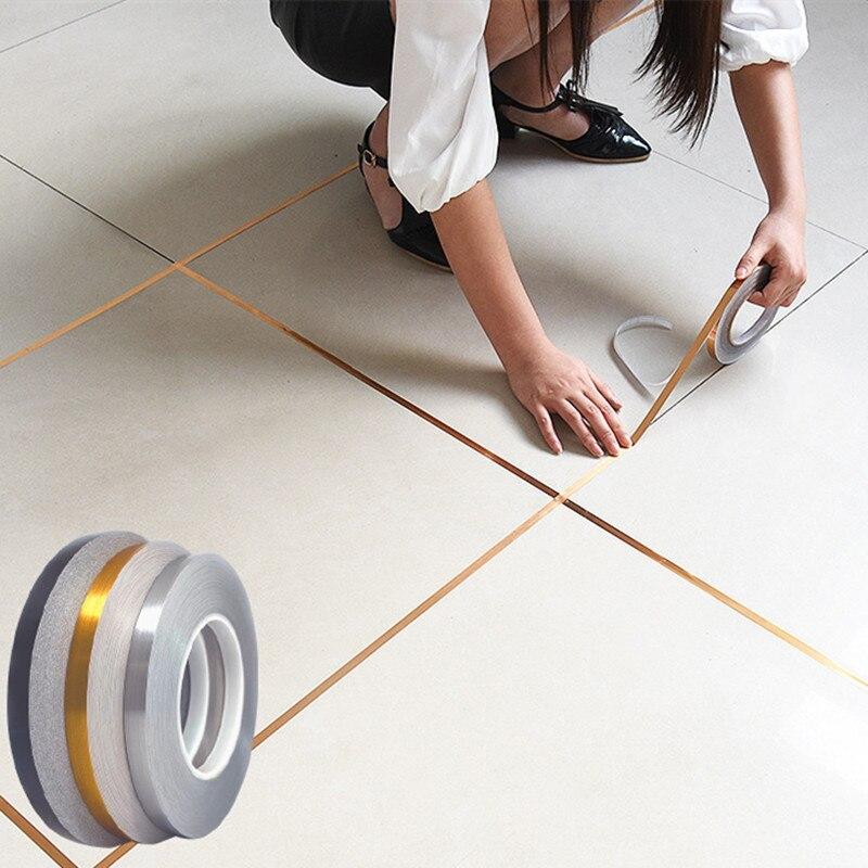 Самоклеящиеся наклейки для плитки, 50 м, водонепроницаемая фольгированная лента для пола, стен, потолка, декоративные Переводные картинки дл...