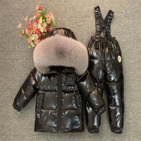 Kids Winter Down Clothing Sets Children Skiing Jackets And OVeraslls Suit For Boys Girls 1 12 Years Outerwear Toddler Snowsuit