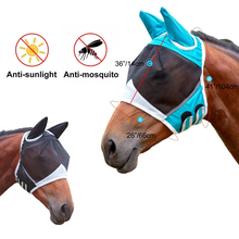 Multicolor Horse Masks Anti-Flyworms Breathable Stretchy Knitted +Mesh Velcro Anti Mosquito Mask Riding Equestrian Equipment New