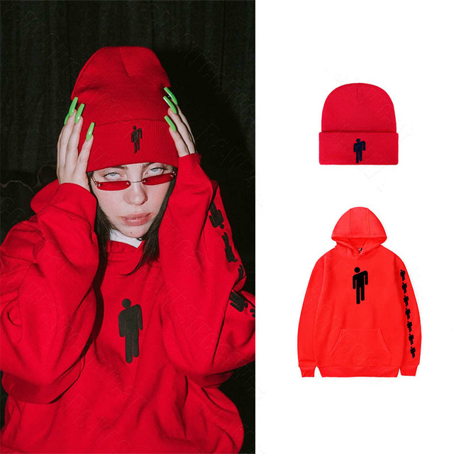 Billie Eilish Same style hoodies women men streetwear girl red clothes harajuku shirt beanies new sweatshirts Top hat bad guy