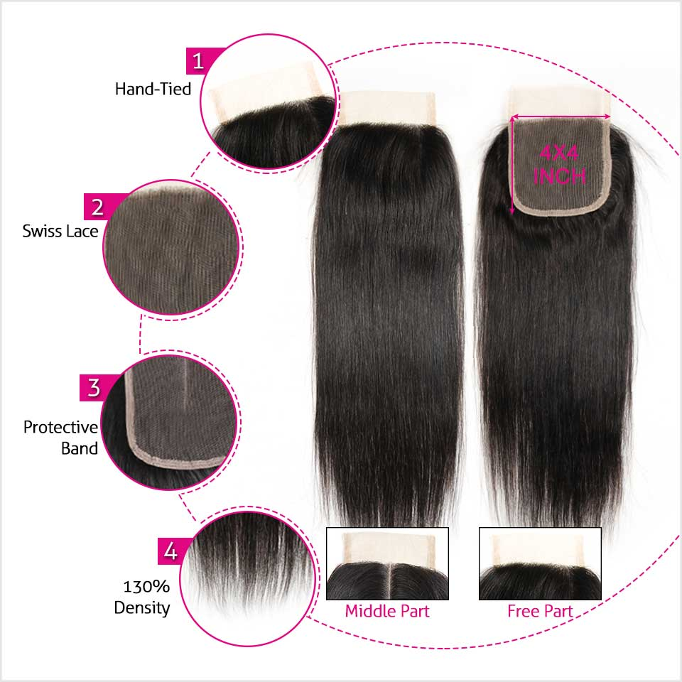 H651ea3cee4c348f3892c636b55c13130n Ali Grace Hair Brazilian Straight Hair Bundles With Closure 4*4 Middle Free Part 2 Option 100% Remy Human Hair With Closure