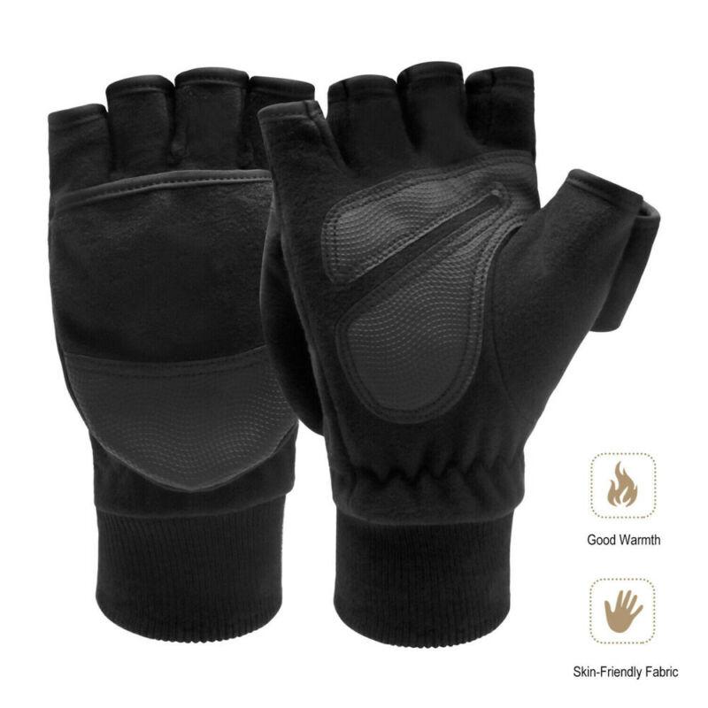 Men Winter Fleece Half Finger Flip Gloves Double Layer Thicken Touch Screen Fingerless Convertible Mittens Wrist Gym PU Gloves