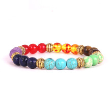 GVUSMIL 2019 New 1pc Mens Womens 7 Chakra Bracelets Bangle Colors Mixed Healing Crystals Stone Pray Mala Bracelet Jewelry