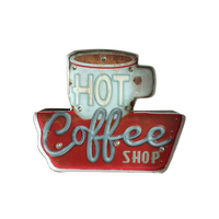 Diner Home LED Sign Wall Decoration Vintage Board Battery Powered Hot Coffee Shop Illuminated Durable Iron Hanging Hand Painted