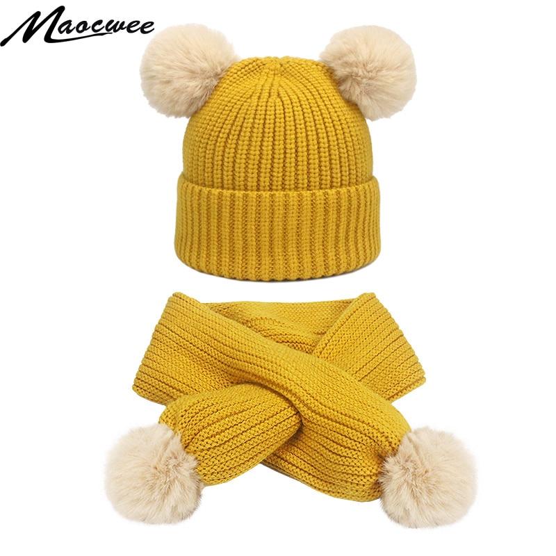 Two-piece Scarf Hat Set Children Pom Pom Beanie Knitted Cap Unisex Solid Color Bone Raccoon Winter Warm Striped Hats Fashion