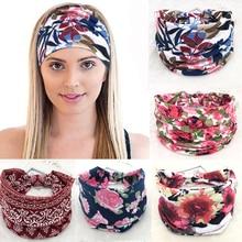 Cotton Women Headpiece Stretch Hot Sale Turban Hair Accessories 1PC Headwear Yoga Run Bandage Hair Bands Headbands Wide Headwrap
