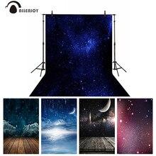 Allenjoy Starry Nacht Hintergrund Dreamy Sky Baby Dusche Raum Mysteriösen Mond Stern Wolke Holz Boden Glitter Hintergrund Banner