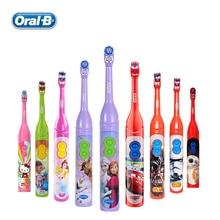 OralB электрическая зубная щетка для детей, уход за деснами, вращение, жизненная сила, мультяшная, для здоровья полости рта, Мягкая зубная щетка для детей, питание от аккумулятора