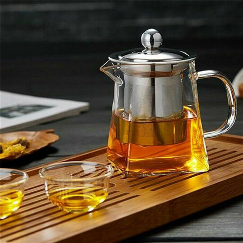 350-750ML Clear Heat Resistant Clear Glass Teapot Jug W/ Infuser Coffee Tea Leaf Herbal Pot Flower Teapot Milk Juice Container