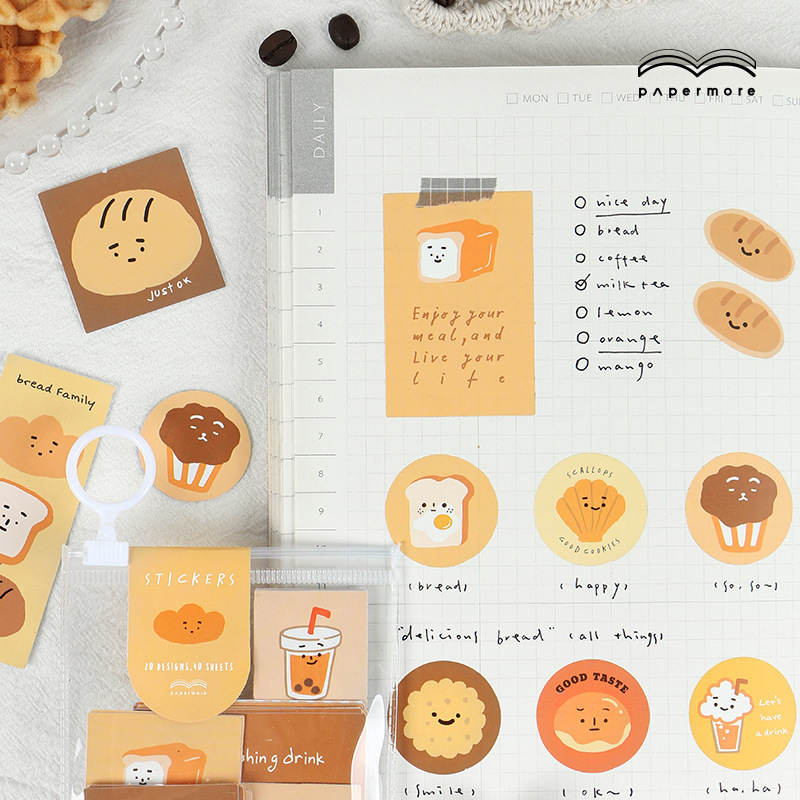 40 Pcs/pack Cute Bread Expression Story Journal Decorative Stickers Scrapbooking Stick Label Diary Stationery Album Stickers