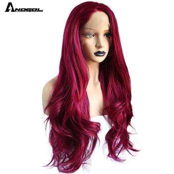 Perruque Lace Front Wig synthétique bordeaux-Anogol   Perruques Body Wave naturelles longues, rouges vin et en Fiber haute température pour femmes