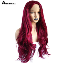 Anogol بورجوندي الاصطناعية الدانتيل شعر مستعار أمامي ارتفاع درجة الحرارة الألياف طويلة الجسم الطبيعي موجة النبيذ الأحمر الباروكات للنساء