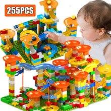 258 pçs blocos de mármore corrida labirinto bola pista blocos de construção funil plástico slide montar tijolos blocos compatíveis