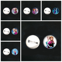 2019/ Stainless Steel Cartoon Explosion Brooch Glass Convex Round Anna Snow Queen Pin Male and Female Brooch Badge Children Gift