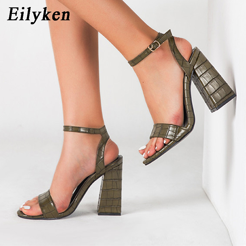 Eilyken Sexy Peep Toe Ankle Buckle Strap Square Heel Gladiator Sandals Woman Summer High Quality Soft Leather Casual Shoes