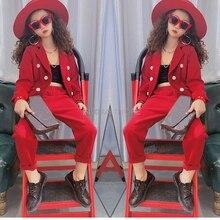 Girls Formal Suit Blazer Jacket + Pants 2pcs Dress Kids Wedd