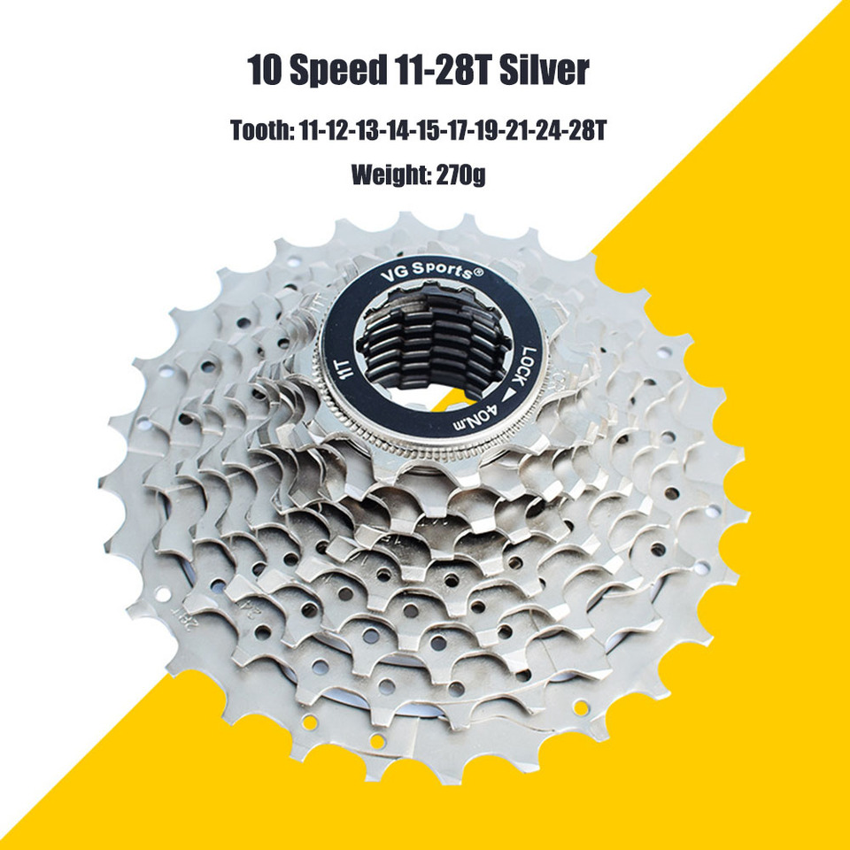 VG Sports 10 Speed Cassette 11-28T Mountain Bike Flywheel for Shimano SRAM 270g
