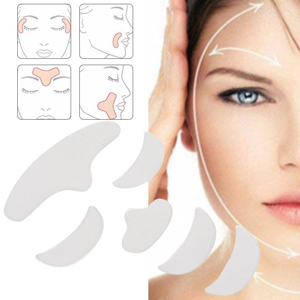 6Pcs Reusable Anti-wrinkle Silicone Forehead Chin Eye Pads Self-adhesive Patches Eye Pads Post Operative Eye Patch Stickers
