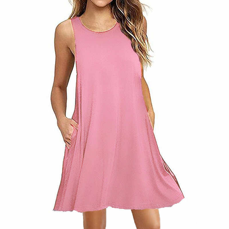 夏のコットンドレス女性ノースリーブビーチ黒のドレスカジュアルポケットルーズドレス女性プラスサイズドレスファッション服