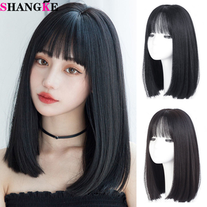 SHANGKE Long Straight With Bangs Synthetic Wigs For Black/White Women Natural Black Brown Gray Heat Resistant Fiber Hair
