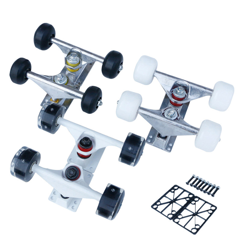 2pcs Skateboard Wheels Truck Bracket Aluminum Alloy Cruiser Longboard Bridge Wheels Bearings Skate Deck Parts Trucks Accessories