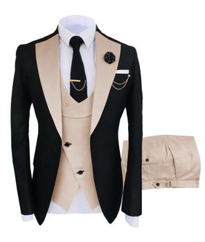 New Costume Slim Fit Men Suits Slim Fit Business Suits Groom Black Tuxedos for Formal Wedding Suits Jacket Pant Vest 3 Pieces 12