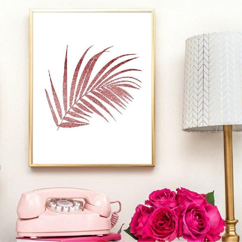 Pink glitter wall art prints