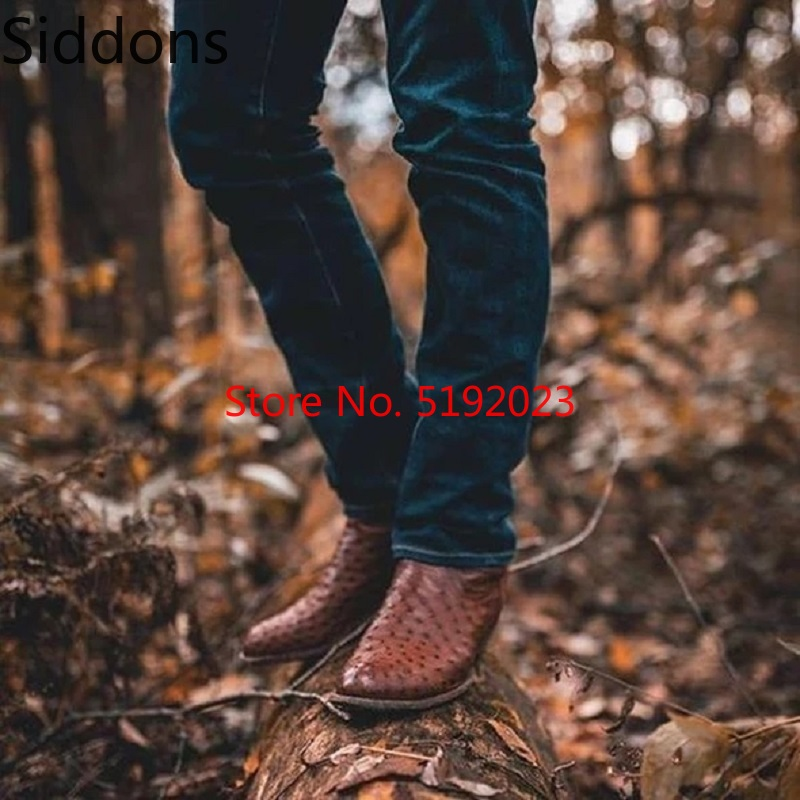 Winter Ankle Boots Men's Brown Breathable Fashion Casual Low Heel Shoes Zapatos De Hombre Fashion Shoes D147