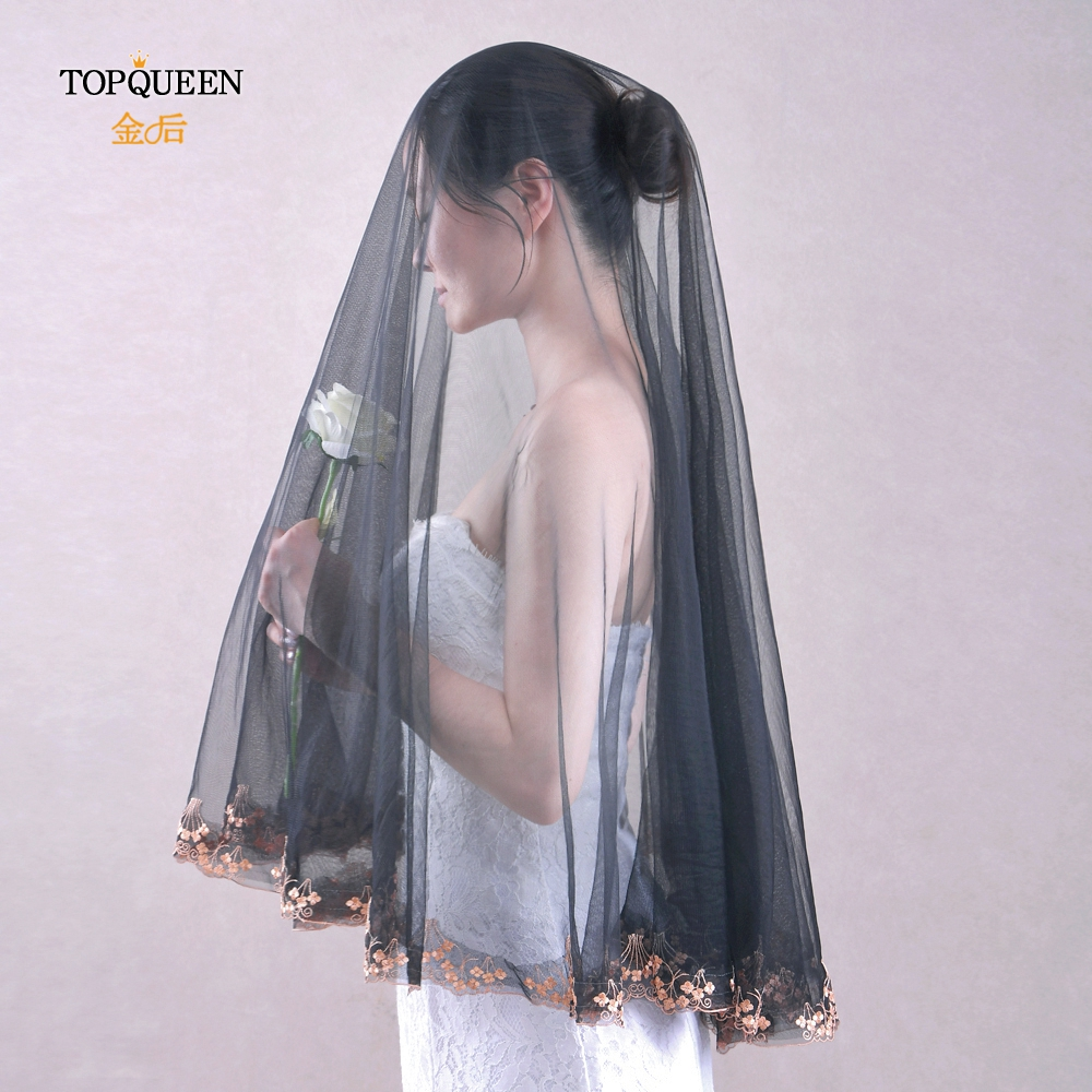 TOPQUEEN V57 Black Wedding Veil Short Cathedral Hair Veil without Comb Lace Edge 1.6*1.6 Long Wedding Veil Wedding Accessories