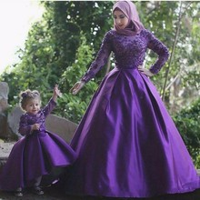 Evening-Dresses Robe Gowns Long-Sleeves Purple Formal Daughter Muslim And with Hijab