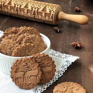 HUIRAN Merry Christmas Elk Wooden Print Rolling Pin Christmas Decorations for Home 2020 Navidad Noel Dessert Tools New Year 2021