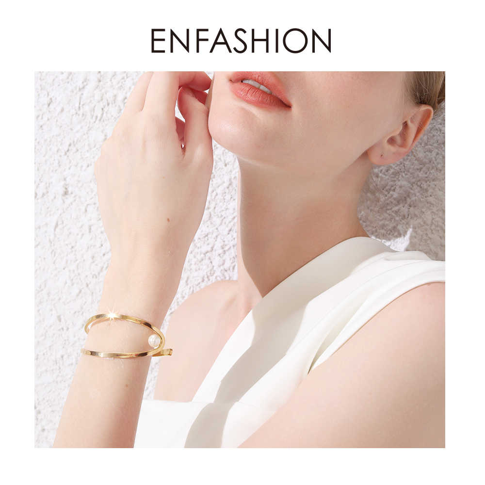 ENFASHION Cute Fish Opening Cuff Bracelets Bangles For Women Gold Color Pearl C Shape Line Lady Bangle Fashion Jewelry B2019