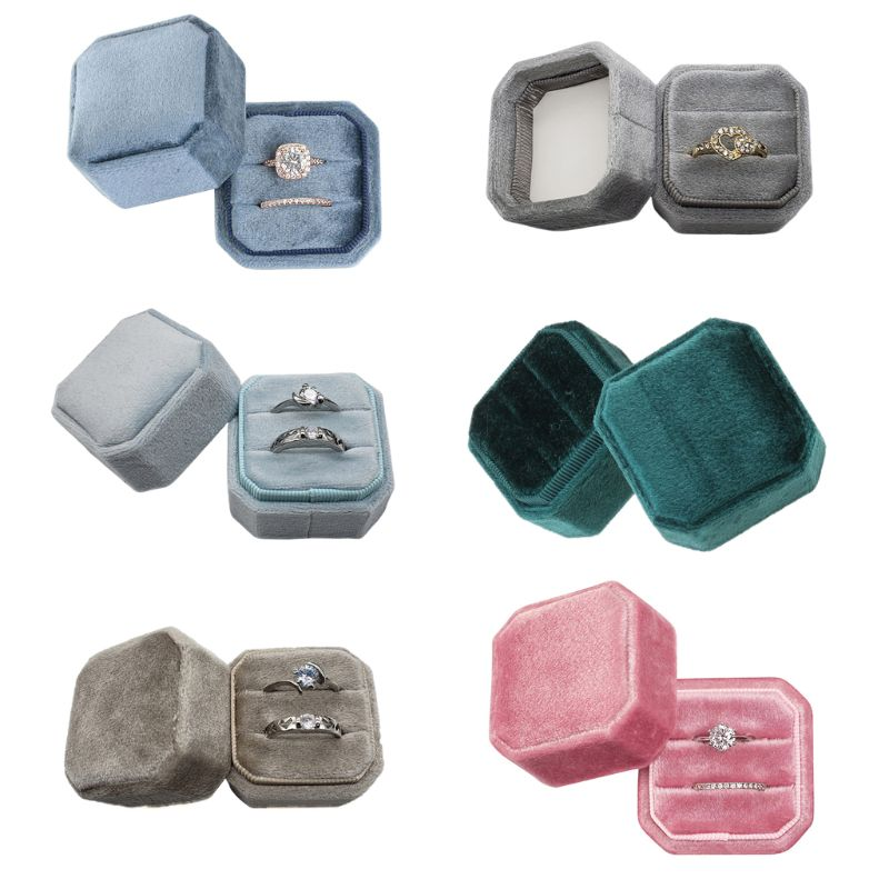 Velvet Double Ring Box With The Highest Quality Velvet Octagon Wedding Ceremony Ring Box With Detachable Lid