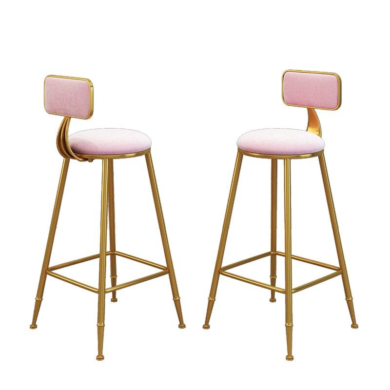 Northern Europe Light Luxurious Bar Chair Bar Stool Bring Backrest Wrought Iron Stool Bar Chair  Commercial Furniture