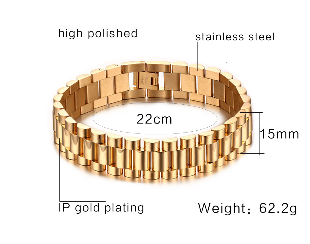 15mm Stainless Steel Metal Link Bracelet Strap for Men Luxury Wristbands in Gold Tone Bangle Pulseira Braslet Male Jewelry