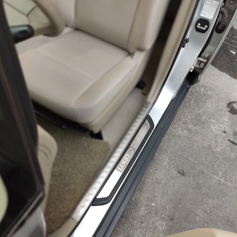 Car Accessories For Mazda 2 Demio 2019 Stainless Steel Door Sill Strip Scuff Protectors Pedal Sticker 2020 2018 2016 2015 2014