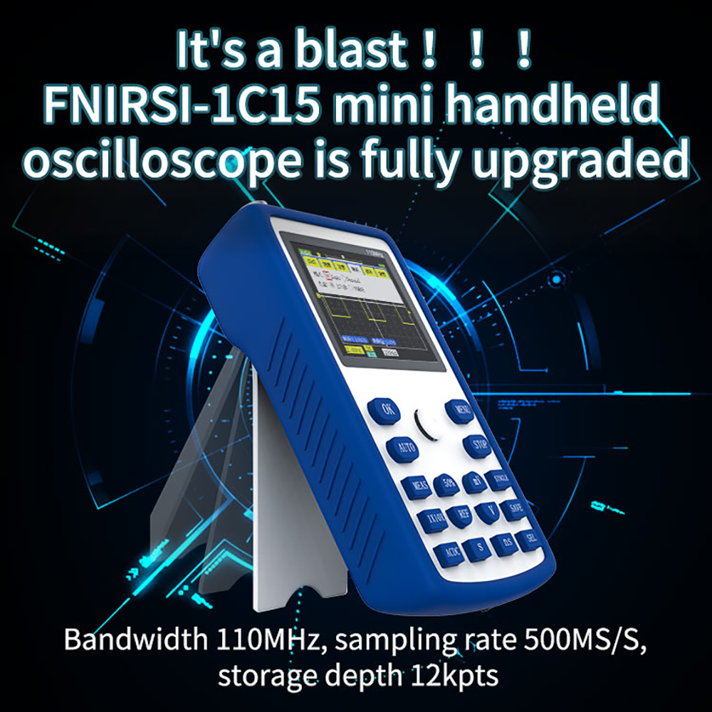 FNIRSI-1C15 Handheld Oscilloscope 2.4 TFT Portable Digital Oscilloscope 500MS//s Sampling Rate 110MH