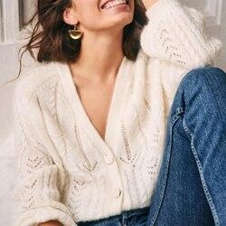 Женский мохеровый свитер, однотонный ажурный вязаный кардиган с v-образным вырезом, Повседневная Верхняя одежда четырех цветов с длинными р...
