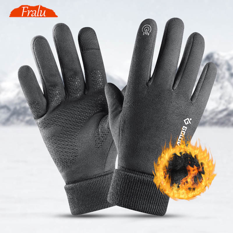 Winter Gloves Reflective-Sign Touch-Screen Business Night-Riding Warm Thick Windproof