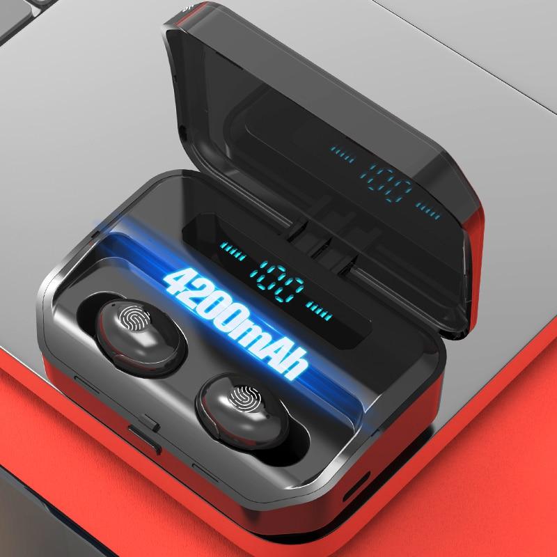 4200 мА/ч, наушники-вкладыши TWS Bluetooth 5,0 Eaphones с зарядный чехол Беспроводной наушники IPX7 Водонепроницаемый наушники для бега спортивные 9D с сенс...