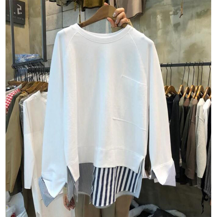 2019 Autumn Vests New Women 39 s Korean Version of Fake Two piece Vests Long Sleeve Loose Striped Pullovers Patchwork Sweatshirt in Hoodies amp Sweatshirts from Women 39 s Clothing