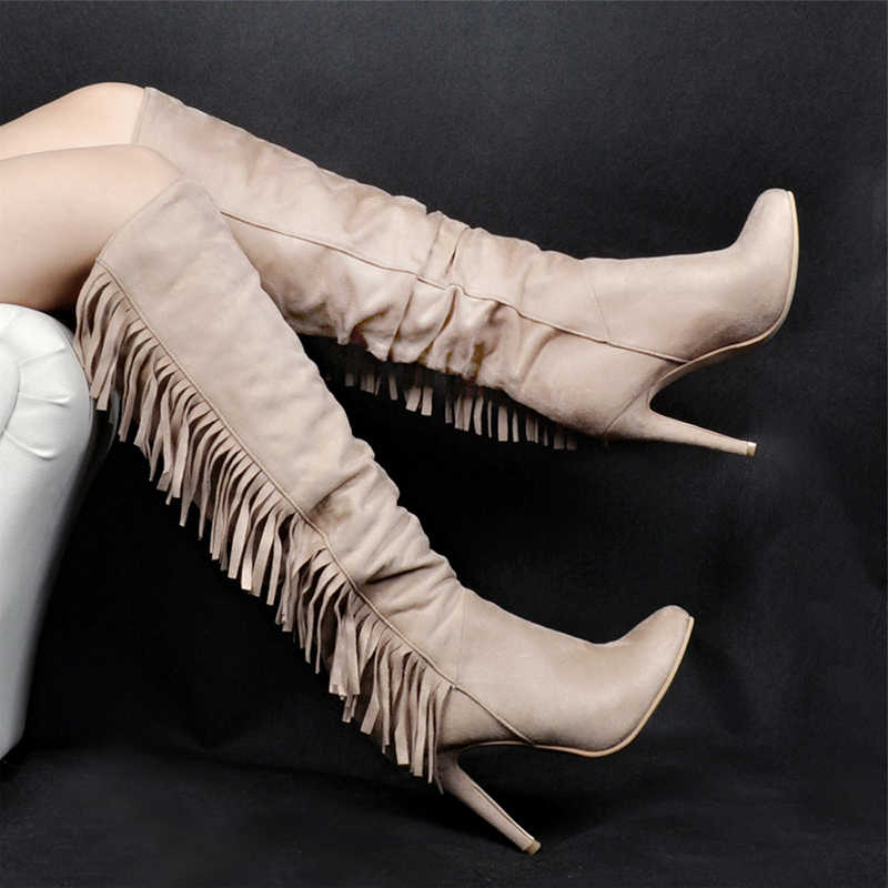 Suede Rivet Knee High Boots High Heels Stiletto Winter Shoes Womem Tassel Runway Pointed Toe Street Halloween Boots Customized