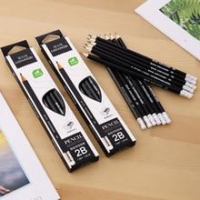 12PCS Cartoon Hexagon Black Wood Pencil Pens Office Stationery Set 2B pencils for school Student Supplies Writing Clear