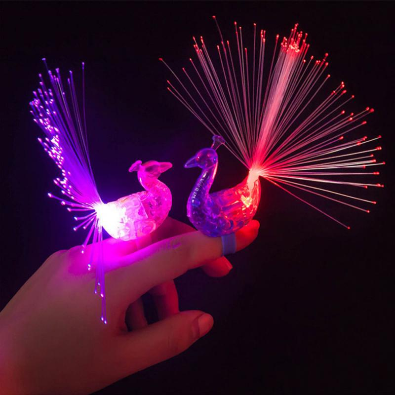 3 Pcs Peacock Lights LED Finger Light Colorful Flashing Finger Toy Kids Gift Party Kids Toy Novelty Lighting Peacock LED Lights