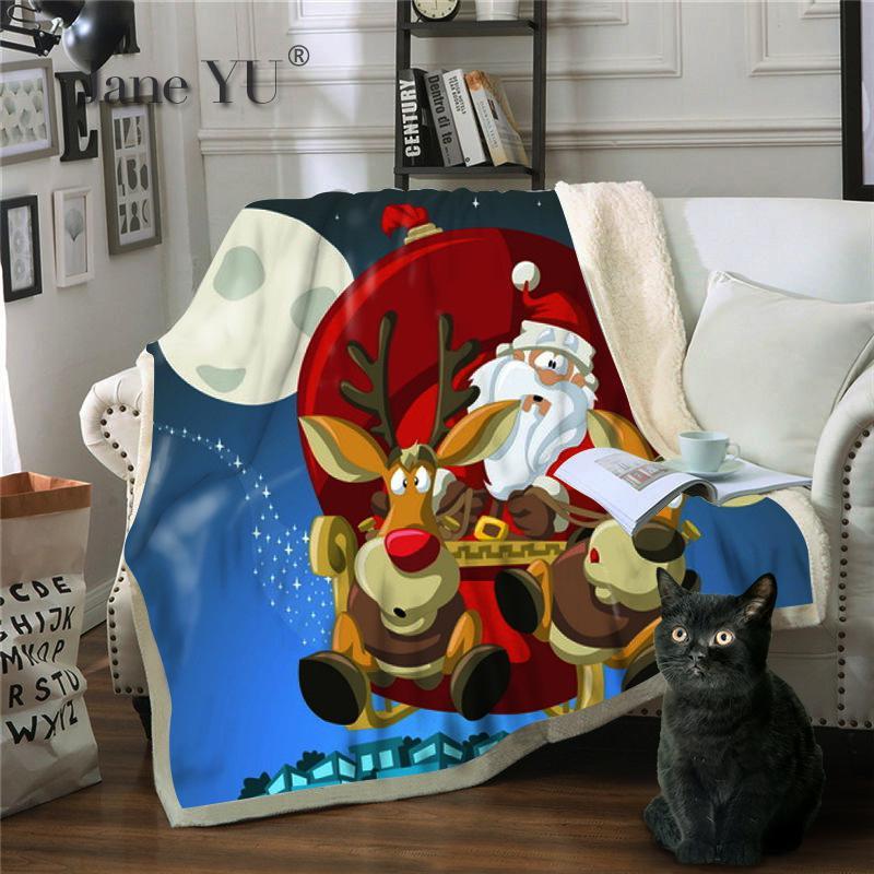 JaneYU 3D печать Санта Клаус персонажа серии многоцелевой одеяло зимний бросок - 2