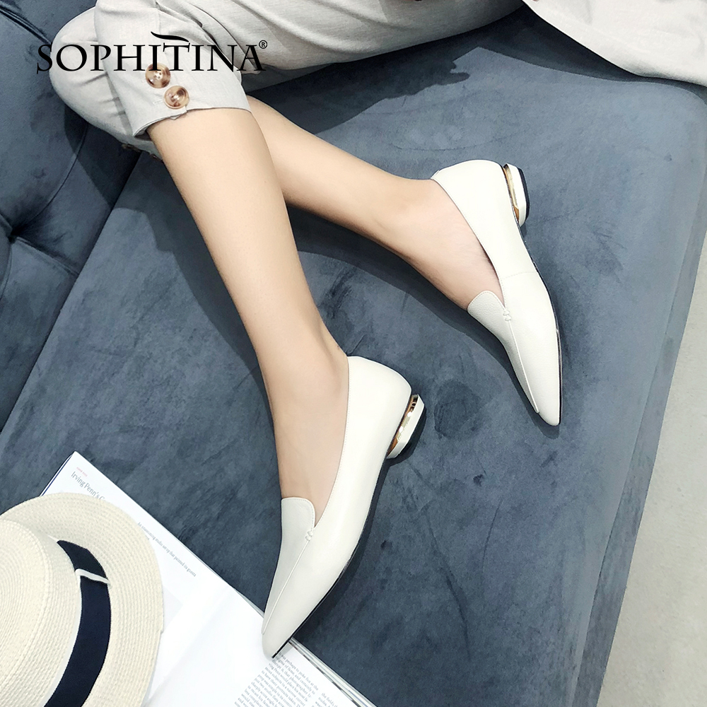 SOPHITINA Pointed Toe Women Flats High Quality Cow Leather Office Fashion Slip-On Comfortable Shoes Concise Elegant Flats MO515